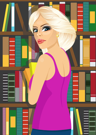 librarian: portrait of attractive blonde librarian woman in library holding books