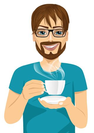 drink coffee: portrait of handsome young hipster man drinking hot coffee or tea isolated on white background