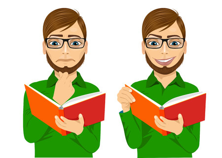 CHIN: portrait of handsome man with glasses focused reading interesting book with hand on chin and smiling Illustration