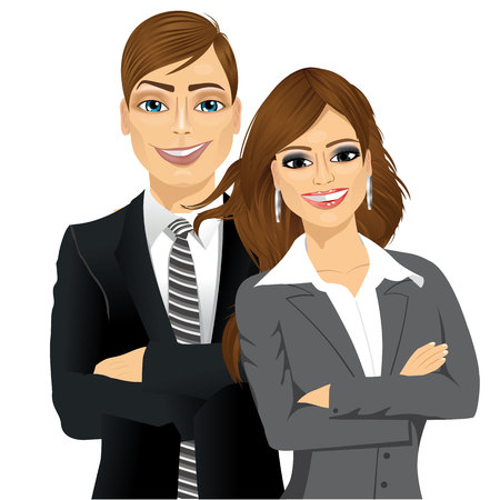 arms folded: handsome businessman and attractive businesswoman partners standing together with arms folded, isolated on white background