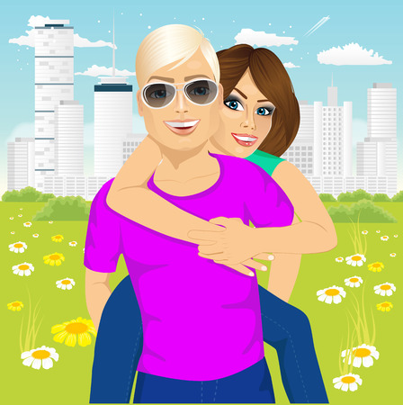 couple having fun: Happy couple in love in a city park. Joyful girl piggybacking on young caucasian boyfriend playing and having fun. Illustration