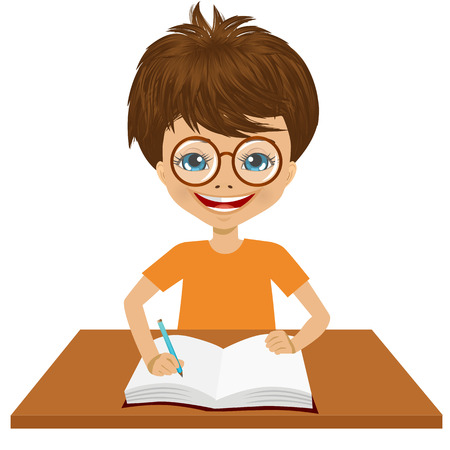 teenagers only: portrait of cute little caucasian student boy with glasses writing something and smiling happy sitting at the desk