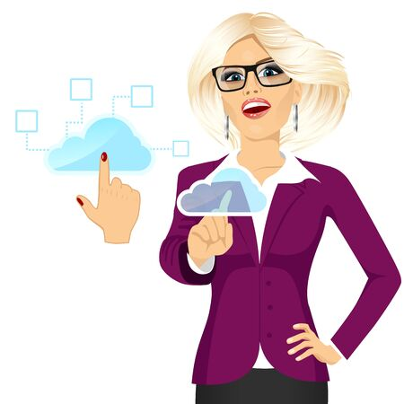 accessing: portrait of attractive blonde businesswoman with glasses touching the cloud accessing on line networking services concept Illustration