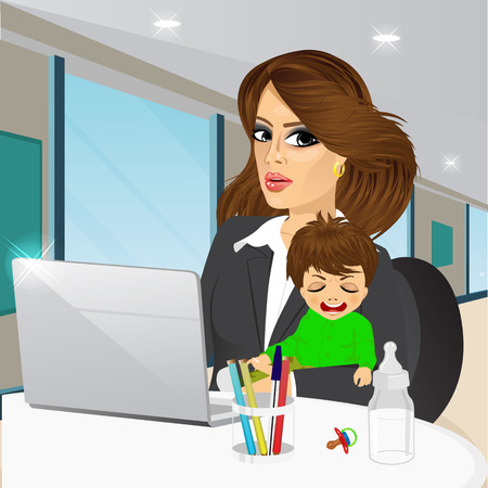 mother holding baby: mother working on laptop in cafe while holding crying baby boy