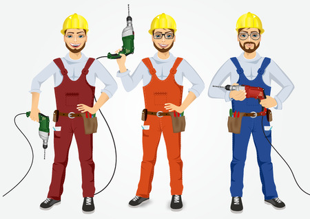 handymen: set of hipster handymen in uniform holding drills isolated on white background