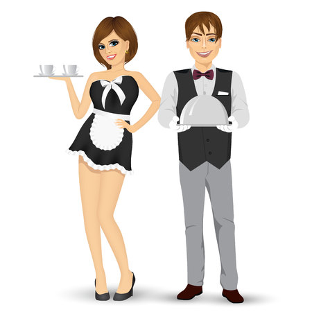 butler: full body portrait of butler holding silver tray and maid serving coffee isolated on white background Illustration