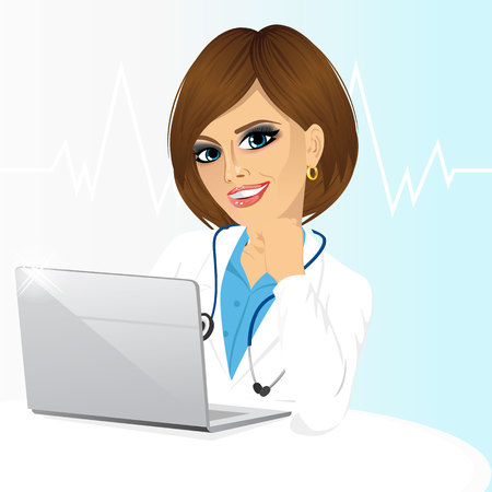 using computer: Portrait of young female doctor using her laptop computer isolated on white background