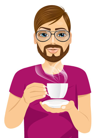 brunets: portrait of handsome young hipster man drinking hot coffee or tea isolated on white background