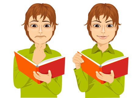 eyes looking down: portrait of young boy focused reading interesting book with hand on chin and smiling Illustration