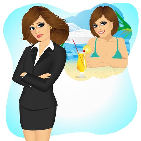 Attractive sad brunette businesswoman longing for sunny summer beach vacations
