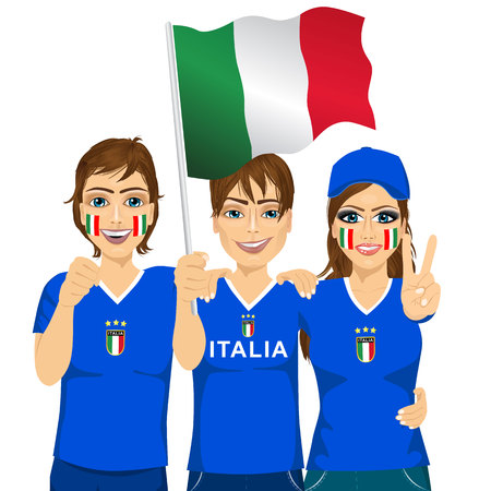 football team: illustration of group of young italian soccer fans cheering their national football team