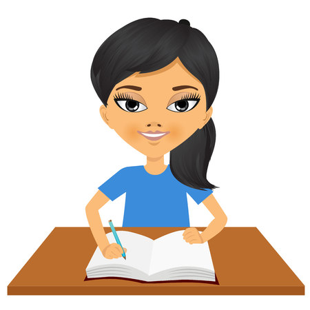 asian student: portrait of cute little asian student girl writing something and smiling happy sitting at the desk