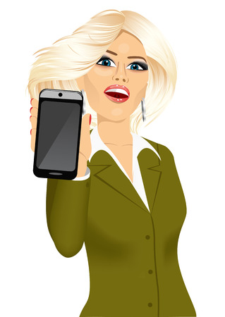 displaying: portrait of beautiful blonde businesswoman displaying her smartphone isolated on white background Illustration