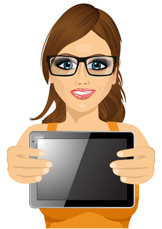 horizontal position: portrait of attractive woman with glasses displaying tablet in horizontal position isolated on white background