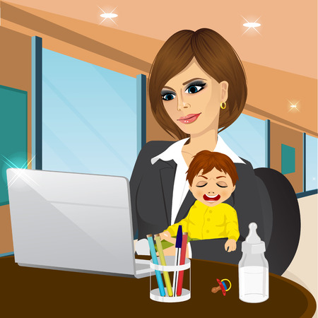 focused mother multitasking working on laptop in cafe while holding crying baby boy Illustration