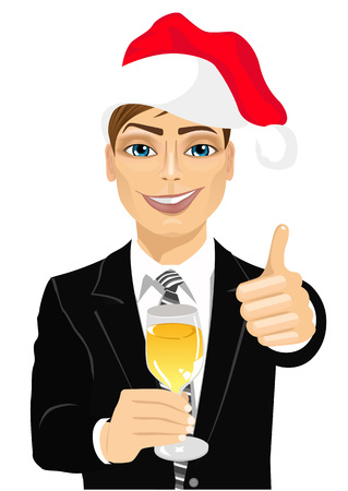 toasting: portrait of successful young businessman wearing christmas hat smiling toasting with a glass of champagne Illustration