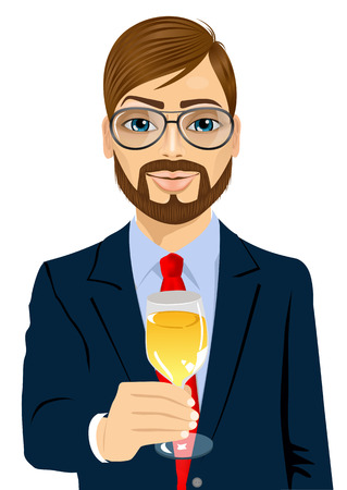 toasting: portrait of successful young bearded businessman toasting with a glass of champagne