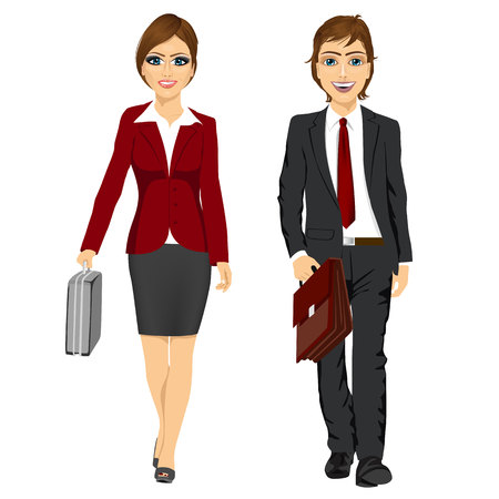 full length picture of a young business man and woman walking forward with a briefcase isolated on white background
