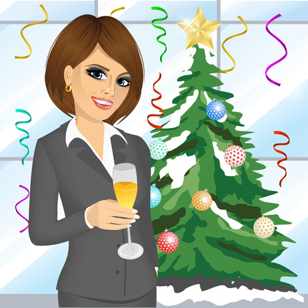 toasting: portrait of young friendly businesswoman toasting with a glass of champagne on christmas party