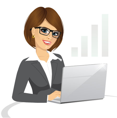 woman laptop: side view of a business woman with glasses working on laptop isolated on white background