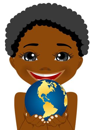 continente americano: africano niño pequeño que sostiene el planeta tierra americana con sus manos mostrando el continente americano