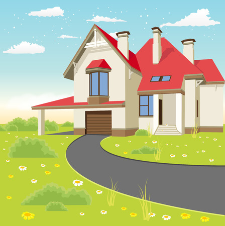 House facade. Traditional classic cottage in the summer landscape Stock Illustratie