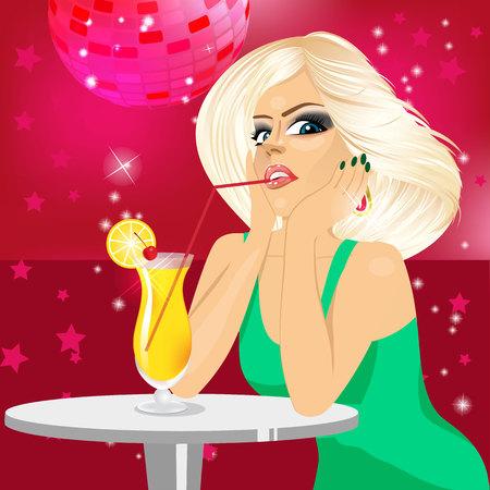 elegant woman: pretty blonde woman drinking orange juice with straw in disco bar Illustration