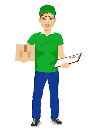 clipboard isolated: full body portraoit of delivery man carrying mail package and holding clipboard isolated over white background
