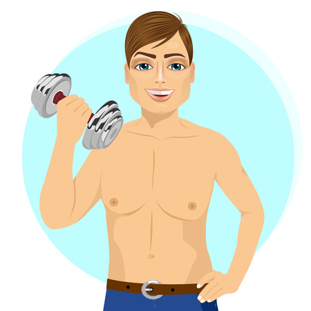 bicep curls: portrait of active handsome young man practicing fitness exercise with dumbbell Illustration