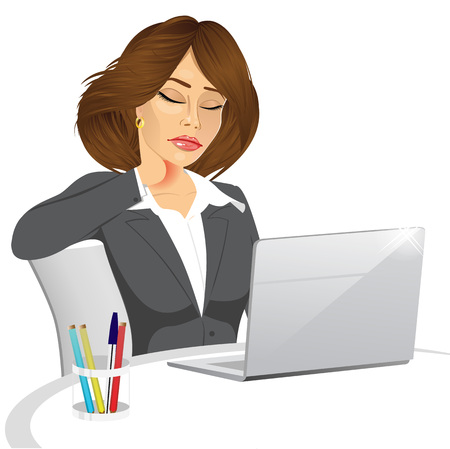 neck pain: attractive female office worker suffering neck pain while working on her laptop computer