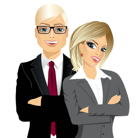 handsome businessman and attractive businesswoman partners standing together with arms folded, isolated on white background