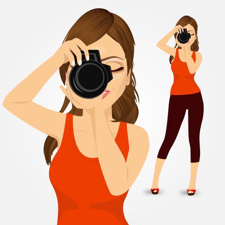 reflex camera: portrait of beautiful young photographer woman taking photos using her digital reflex camera Illustration