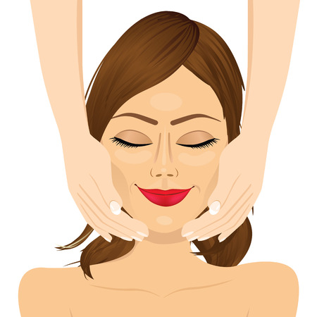 facial massage: portrait of attractive young woman enjoying facial massage beauty therapy