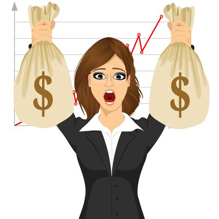 money bags: young latin businesswoman surprised holding two big dollar money bags Illustration