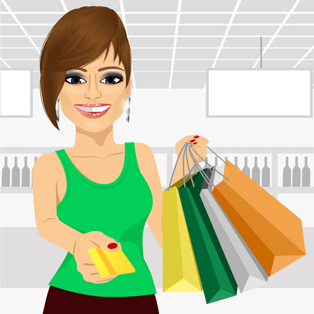 woman credit card: beautiful young woman holding shopping bags and giving a credit card in the supermarket Illustration
