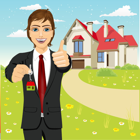 hansome: portrait of hansome real estate agent holding the key of a new house
