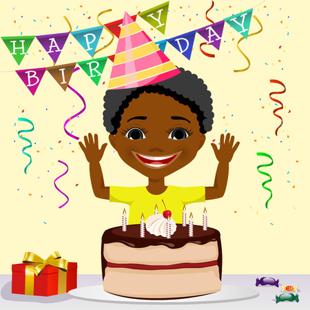 african american boy: happy african american boy celebrating his birthday smiling and ready to blow out the candles on the cake Illustration