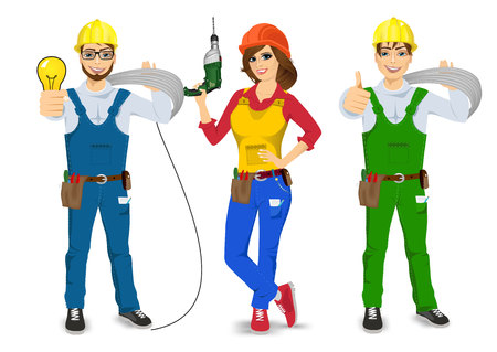 cabling: illustration of technical, electrician, handyman, plasterer or mechanic isolated over white background