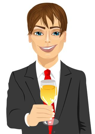 toasting: portrait of successful young handsome businessman toasting with a glass of champagne