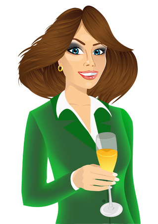 toasting: portrait of successful young attractive businesswoman toasting with a glass of champagne