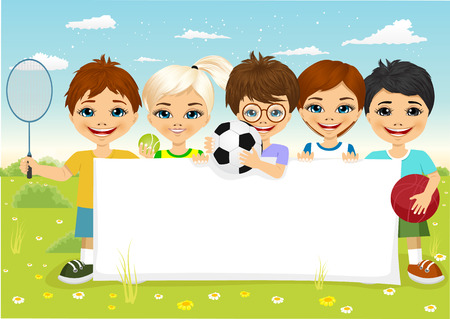 caucasian: group of caucasian children with different sports equipment holding a blank board woth copyspace for text Illustration