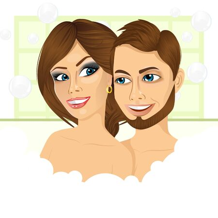 bubble bath: illustration of young happy couple enjoying relaxing bubble bath and looking at each other Illustration