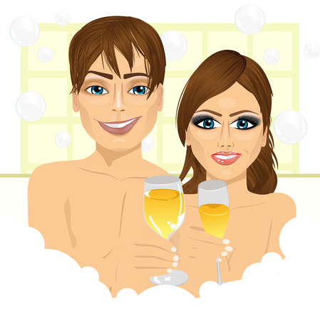 bubble bath: caucasian happy couple making toast with champagne in bathtub enjoying bubble bath and relaxing together