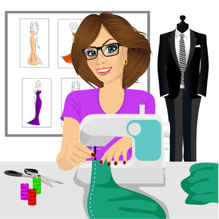 sew: attractive young fashion designer dressmaker woman using sewing machine to sew a turquoise tissue Illustration