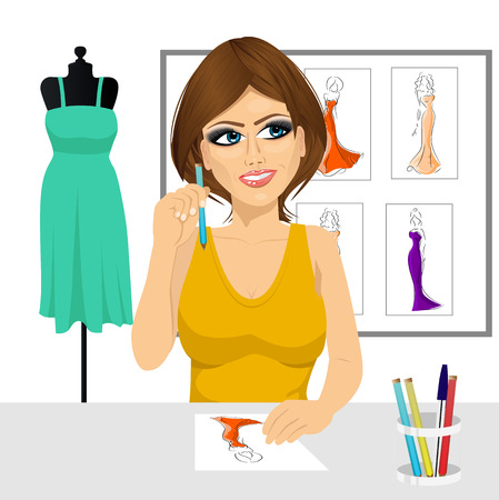 portrait young girl studio: friendly young brunette fashion designer thinking concept holding a pencil and drawing dress design sketches Illustration