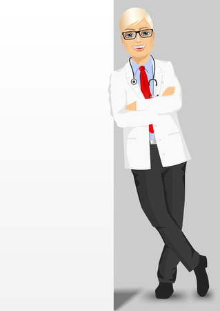 medical man: full body portrait of male doctor with glasses leaning against a blank board with copyspace for text