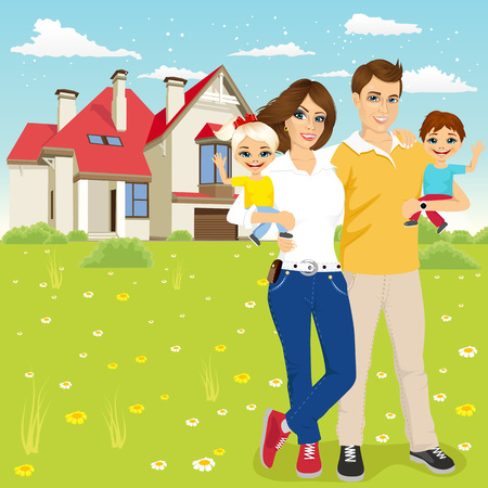 front of house: Portrait of a young family with mother, father, son and daugther outside in front of new house