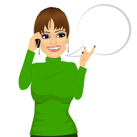 using smartphone: portrait of young woman having conversation using her smartphone with a speech bubble isolated on white background Illustration