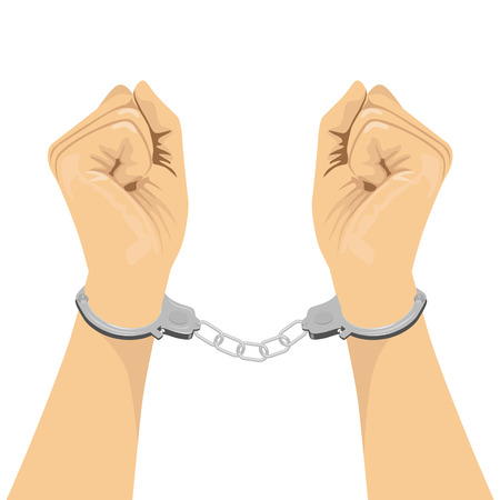 metal handcuffs: cropped illustration of a pair of hands in handcuffs isolated on white background Illustration