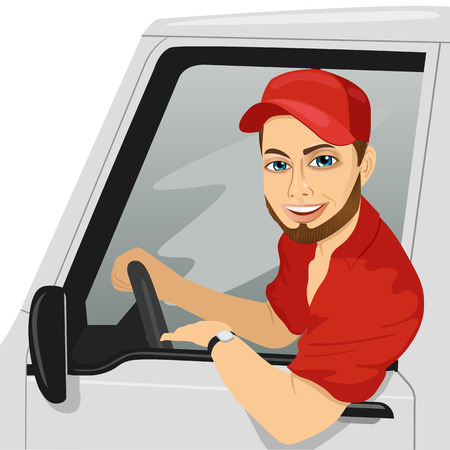 Smiling truck driver in the car. Delivery cargo service
